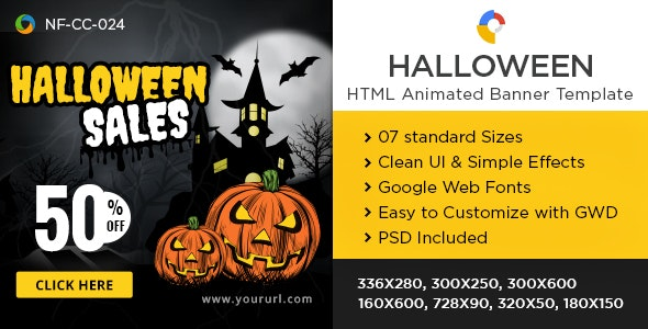 HTML5 Halloween Banners - GWD - 7 Sizes - CodeCanyon Item for Sale
