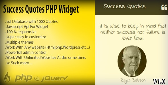 Success Quotes - PHP Widget + 1000 Random Quotes - CodeCanyon Item for Sale