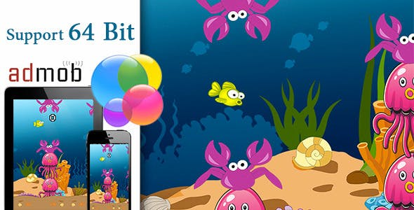 Flappy Fish with Admob and Gamecenter 64bit