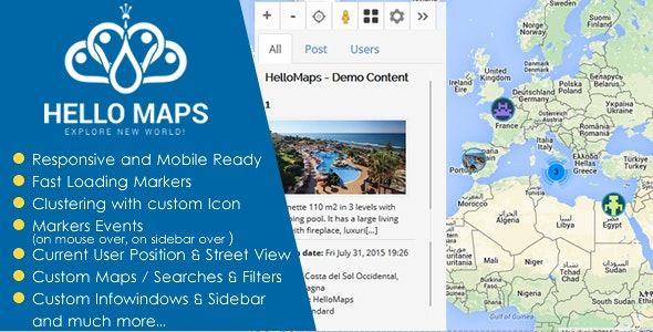HelloMaps -Professional Maps & Geolocation for WP  - CodeCanyon Item for Sale