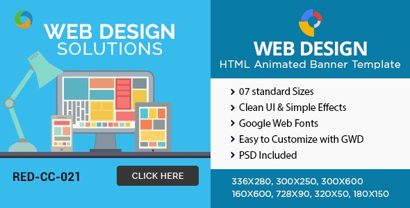 HTML5 Design company Banners - GWD - 7 Sizes - CodeCanyon Item for Sale