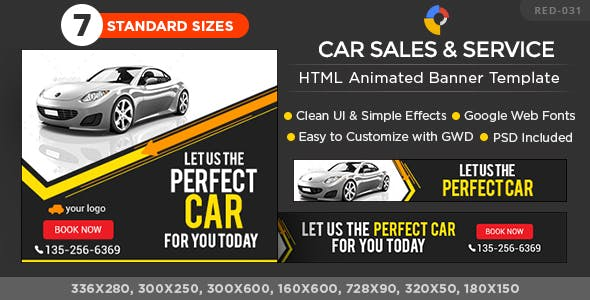 Car Sales and Service HTML5 Banners- GWD - 7 Sizes
