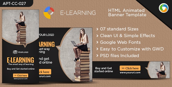 HTML5 E-Learning Banners - GWD - 7 Sizes - CodeCanyon Item for Sale