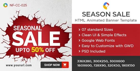 HTML5 Season Sale Banners - GWD - 7 Sizes