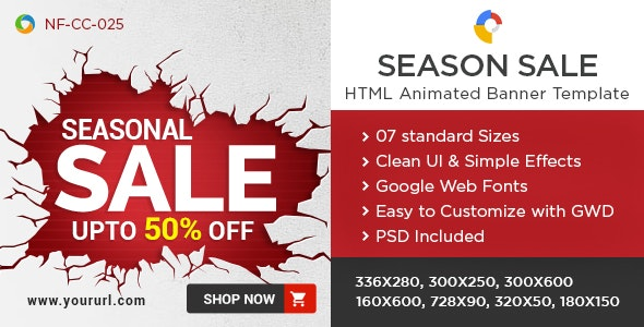 HTML5 Season Sale Banners - GWD - 7 Sizes - CodeCanyon Item for Sale