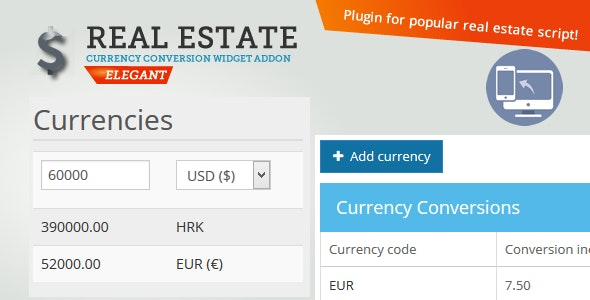 Real Estate Currency Conversion widget - CodeCanyon Item for Sale
