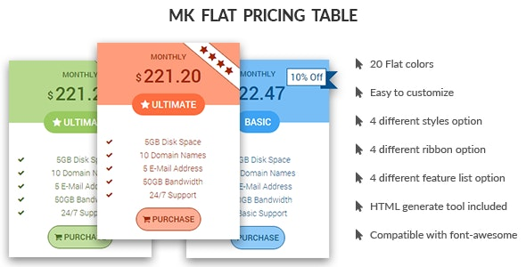 MK Flat Pricing Table - CodeCanyon Item for Sale