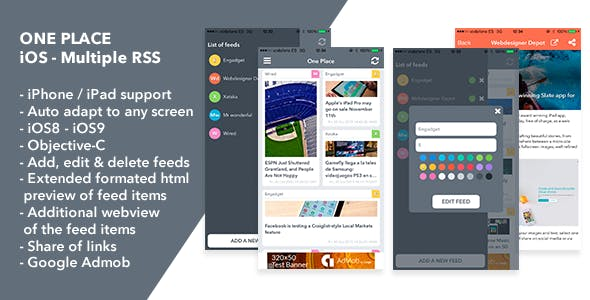 One Place iOS App - Multiple RSS Reader