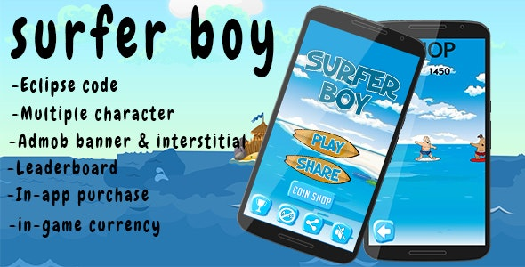 Surfer boy-Multiple character and admob - CodeCanyon Item for Sale