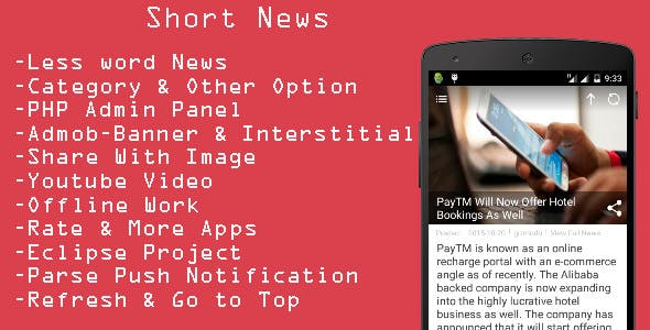 Make A Inshort App With Mobile App Template from CodeCanyon