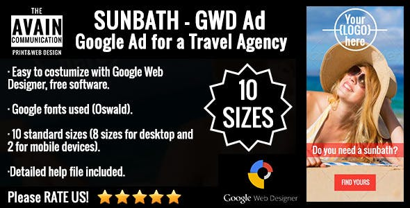 SunBath - GWD Ad for a Travel Agency - 10 sizes