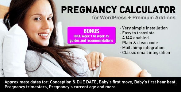 Pregnancy Due Date Calculator for WordPress + Add-ons by scgc