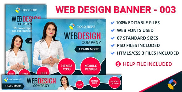 GWD | Web Design Company Ad - 7 Sizes - CodeCanyon Item for Sale