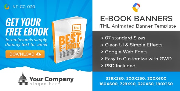 HTML5 E-Book Banners - GWD - 7 Sizes - CodeCanyon Item for Sale