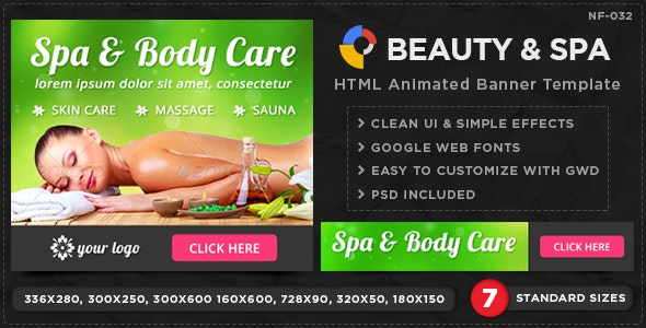 HTML5 Beauty & Spa Banners - GWD - 7 Sizes - CodeCanyon Item for Sale