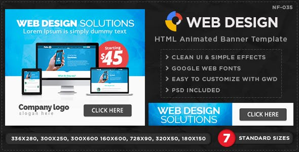 HTML5 Web & Graphic Design Banners - GWD - 7 Sizes