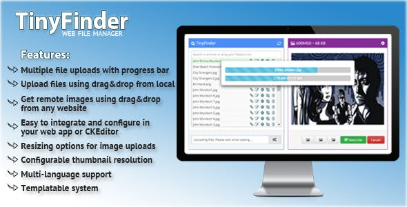 TinyFinder Web File Manager, File Browser for CKEditor