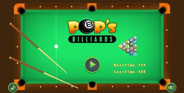 POP's Billiards - HTML5 Game + Mobile + AdMob (Construct 3 | Construct 2 | Capx)