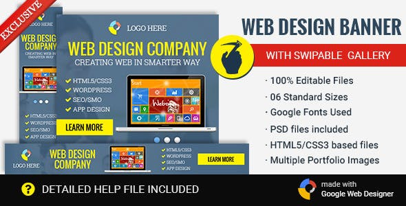 GWD Web Design Banner with Swipe Gallery- 6 Sizes