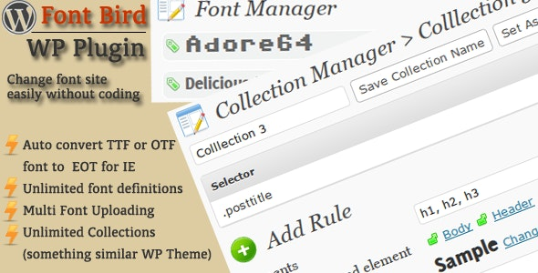 FontBird, easy change WordPress site's font - CodeCanyon Item for Sale