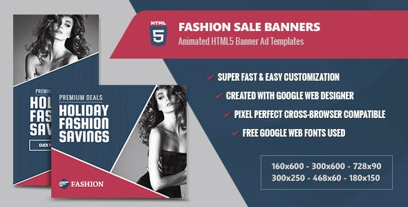 Fashion Sale Banners - HTML5 Animated GWD