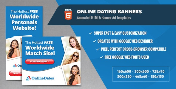 Online Dating Banners - HTML5 Animated GWD - CodeCanyon Item for Sale