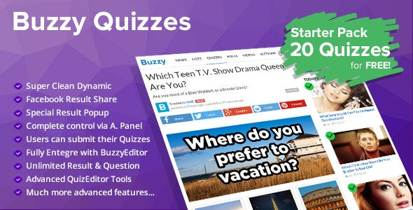 Quizzes Plugin for Buzzy - CodeCanyon Item for Sale