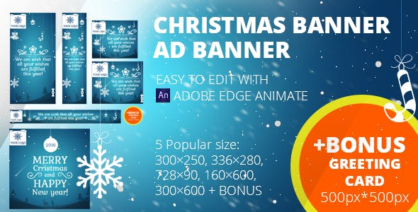 Christmas banners set + Greeting card 500px*500px | Edge Animate