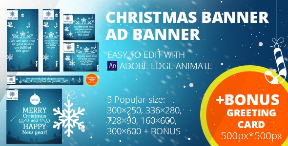 Christmas banners set + Greeting card 500px*500px | Edge Animate - CodeCanyon Item for Sale