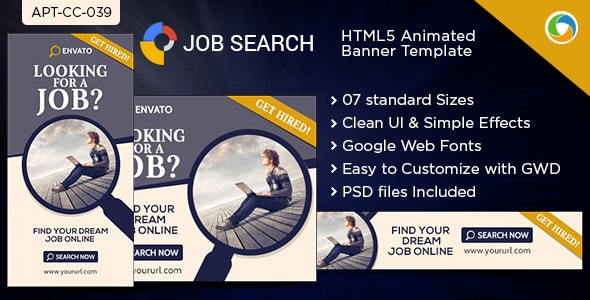HTML5 Job & Career Banners - GWD - 7 Sizes - CodeCanyon Item for Sale