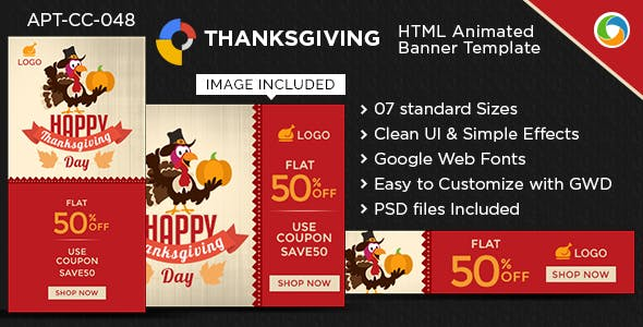 HTML5 Thanksgiving day Banners - GWD - 7 Sizes