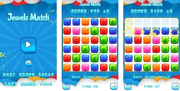 Jewels Match - HTML5 Game + Mobile + AdMob (Construct 3 | Construct 2 | Capx)