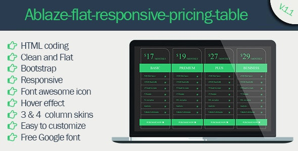 Ablaze Flat Responsive Pricing Table - CodeCanyon Item for Sale