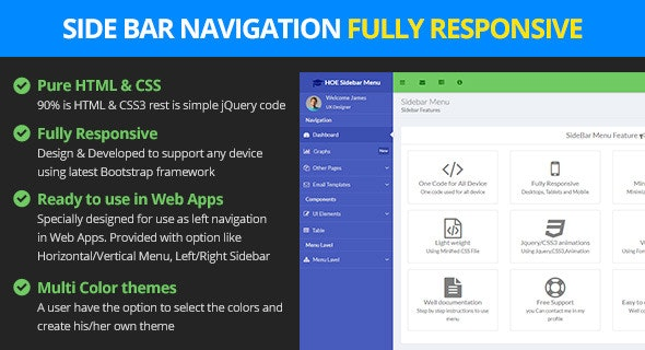 Responsive Bootstrap Sidebar Navigation - CodeCanyon Item for Sale