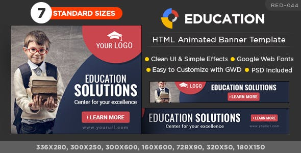 HTML5 Education Banners - GWD - 7 Sizes