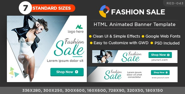 HTML5 Fashion sale  Banners - GWD - 7 Sizes - CodeCanyon Item for Sale