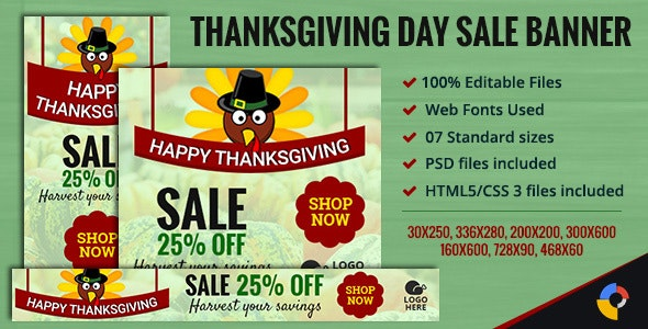 GWD - Thanksgiving Day - Sale Ad Banners - 7 Sizes - CodeCanyon Item for Sale