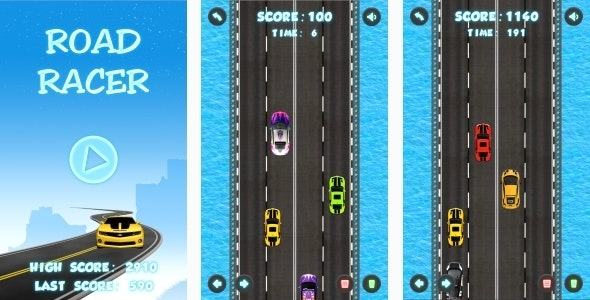 Road Racer - HTML5 Game + Mobile + AdMob (Construct 3 | Construct 2 | Capx) - CodeCanyon Item for Sale