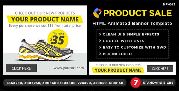 HTML5 Online & Retail shop Banners - GWD - 7 Sizes
