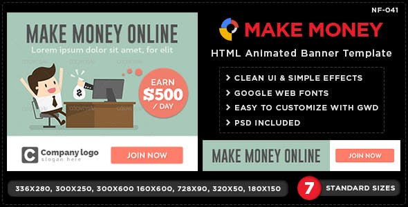 HTML5 Online Money Making Banners - GWD - 7 Sizes