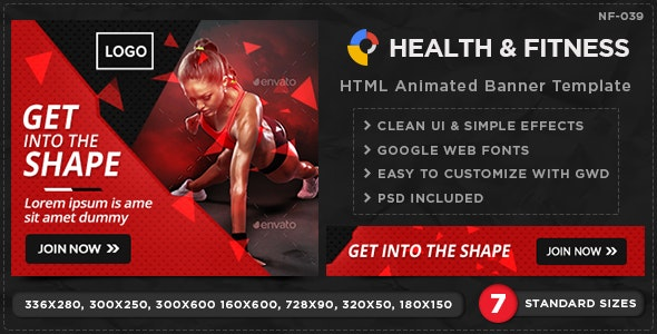 HTML5 Health & Fitness Banners - GWD - 7 Sizes - CodeCanyon Item for Sale