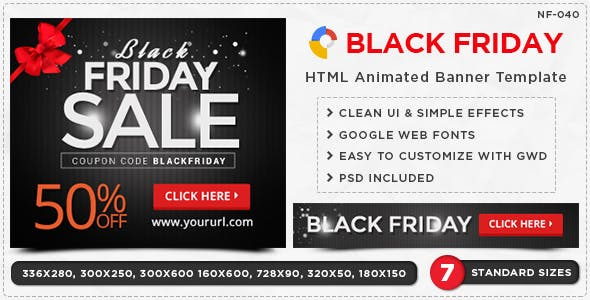 HTML5 Black Friday Banners - GWD - 7 Sizes
