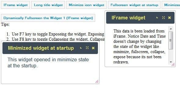 Minimize, Maximize dialog/modal