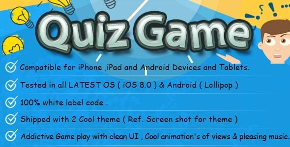 Quiz iOS & Android Game/App with Backend  by thecodefactory | CodeCanyon