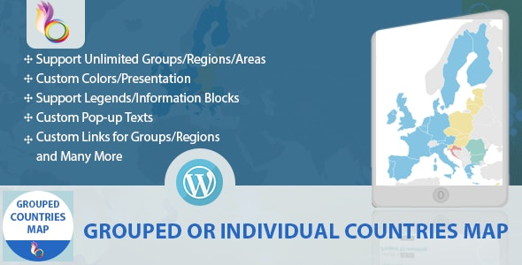 Grouped or Individual Countries Map - WordPress - CodeCanyon Item for Sale