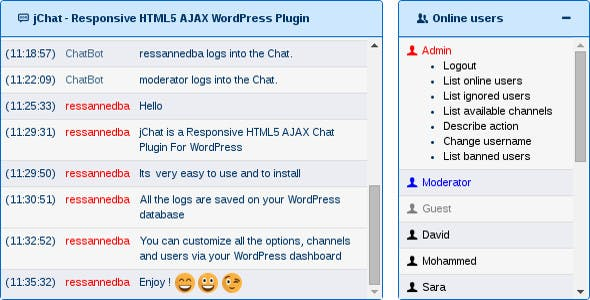 jChat - Responsive HTML5 AJAX WordPress Plugin