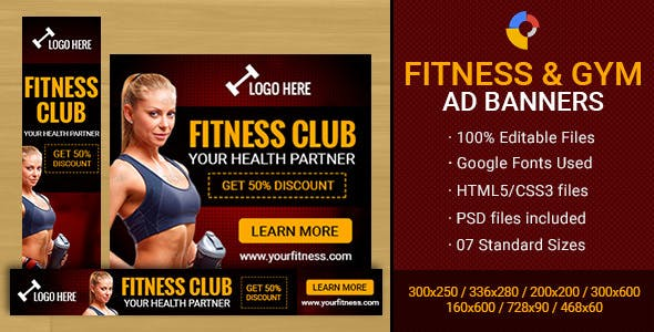 GWD - Fitness Club & Gym Banner - 7 Sizes