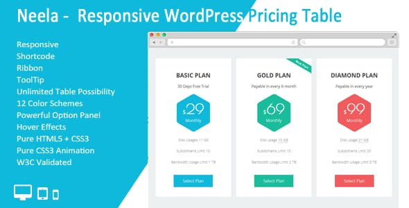 Neela - Responsive WordPress Pricing Table