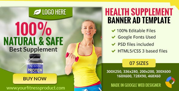 GWD | Health Supplement Banner - 7 Sizes