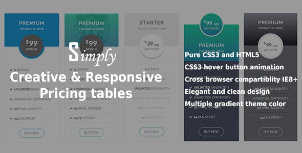 Creative & Responsive Pricing Tables